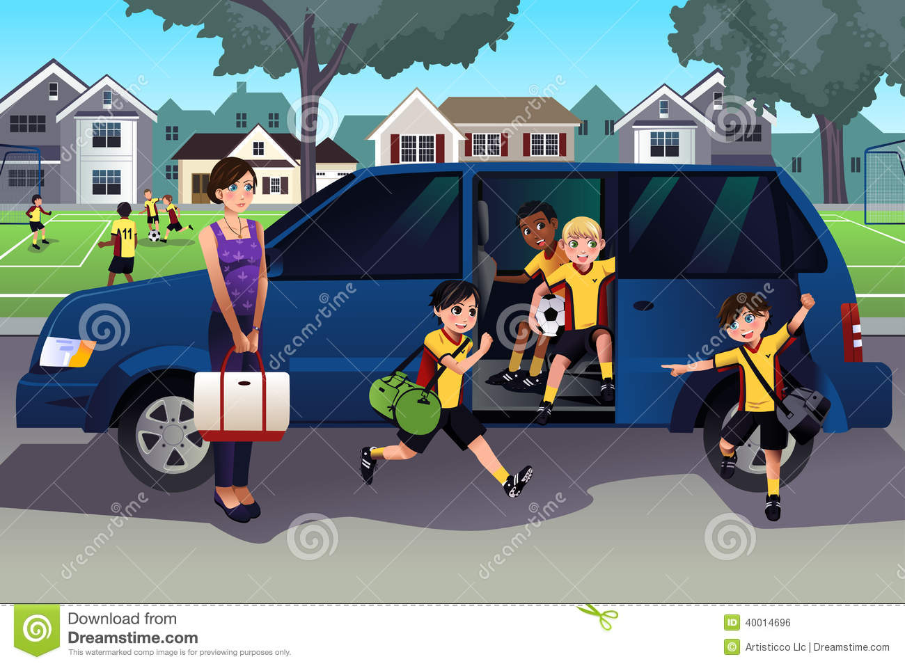 vector illustration of mother driving her kids and their friends to ...
