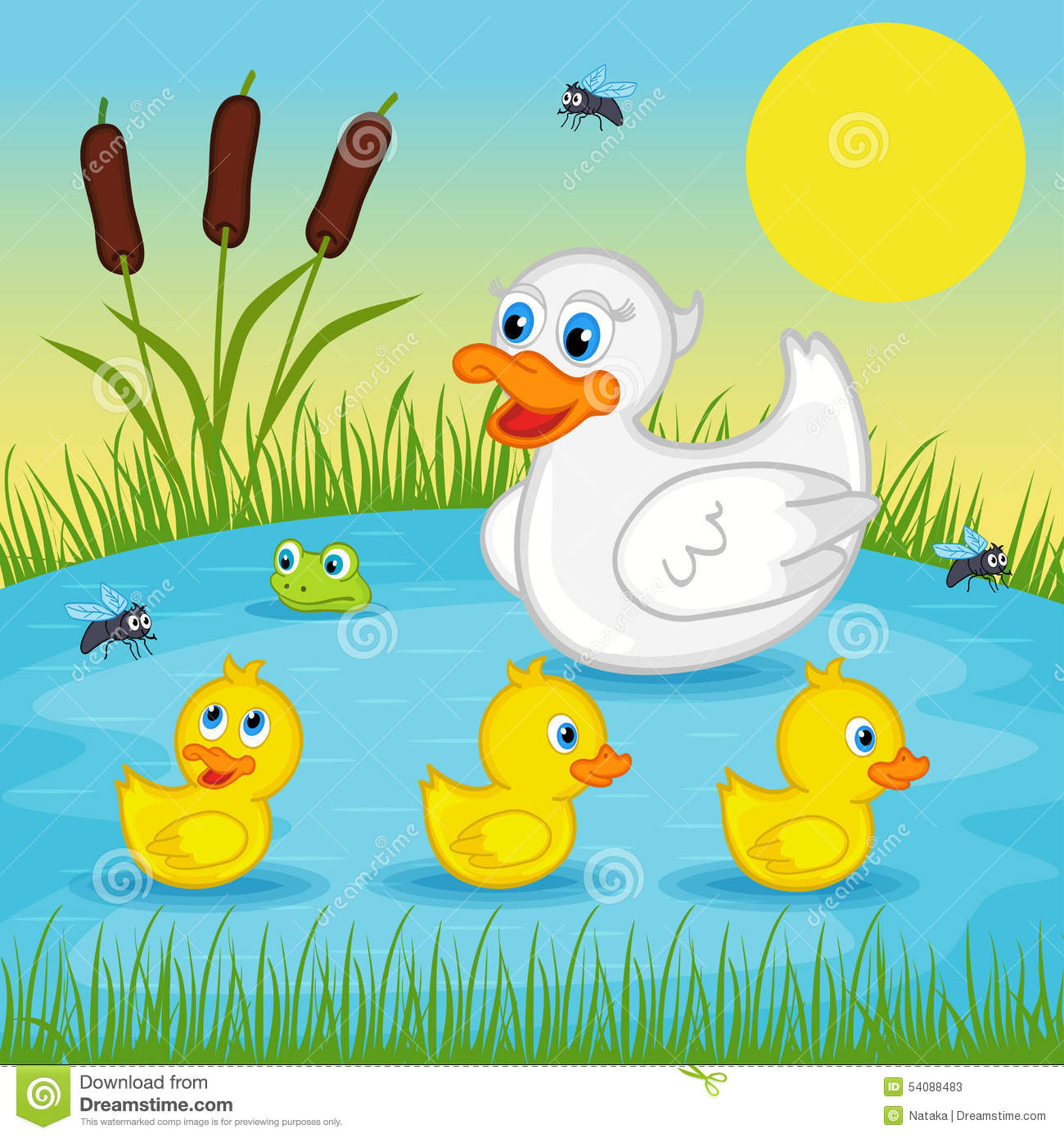 Mother Duck With Ducklings On Lake Stock Vector - Illustration of ... for Duck And Duckling Clipart  104xkb