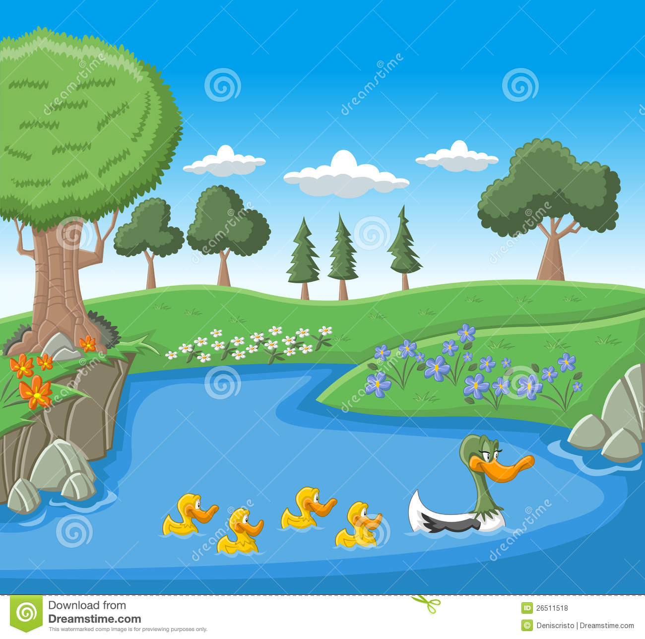 A Mother Duck Swimming With Her Ducklings Stock Vector ...