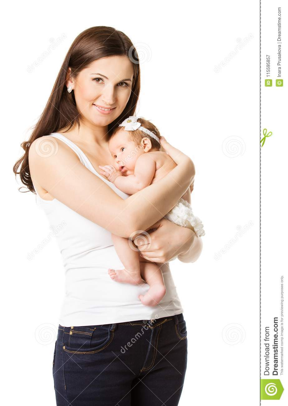 Mother Embracing Newborn Baby, Mom and New Born Child on Hands