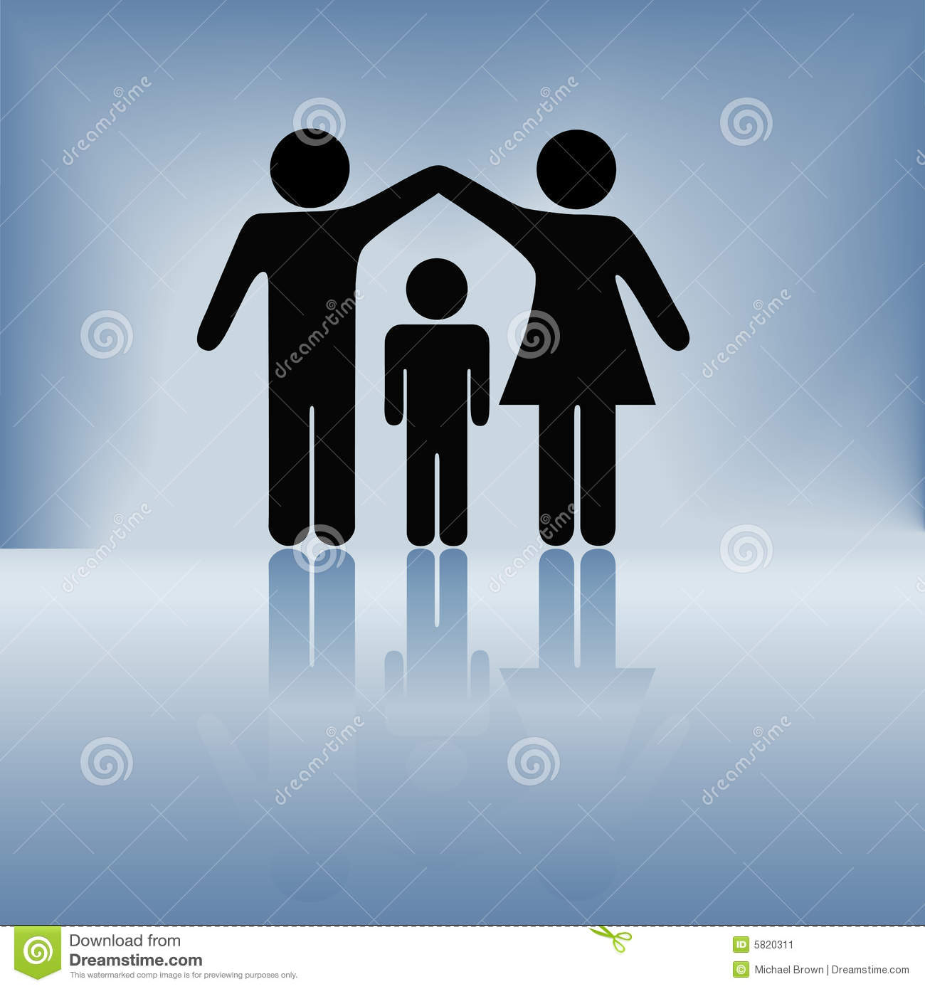 Mother Father Child Family Security Arms Roof Stock Image Image 5820311