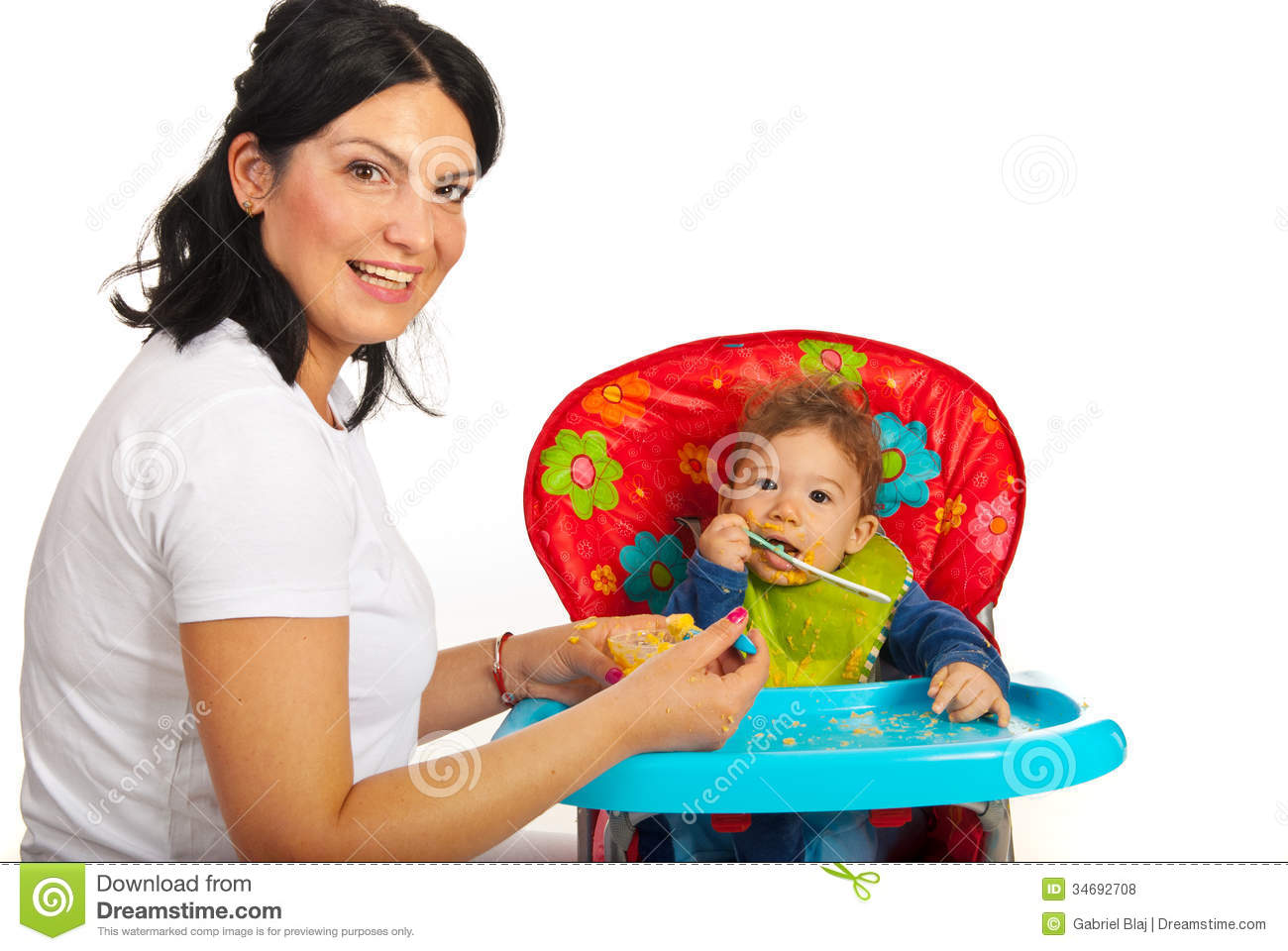 Mother Feed Her Baby Boy Stock Photo Image Of Coloured