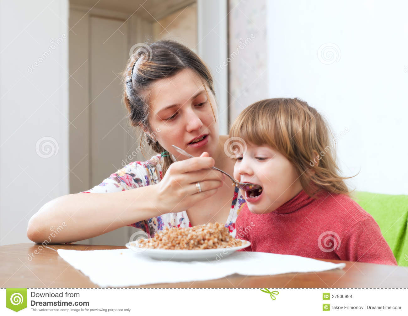 Mother Feeding Her 2 Years Child Stock Images - Image ...