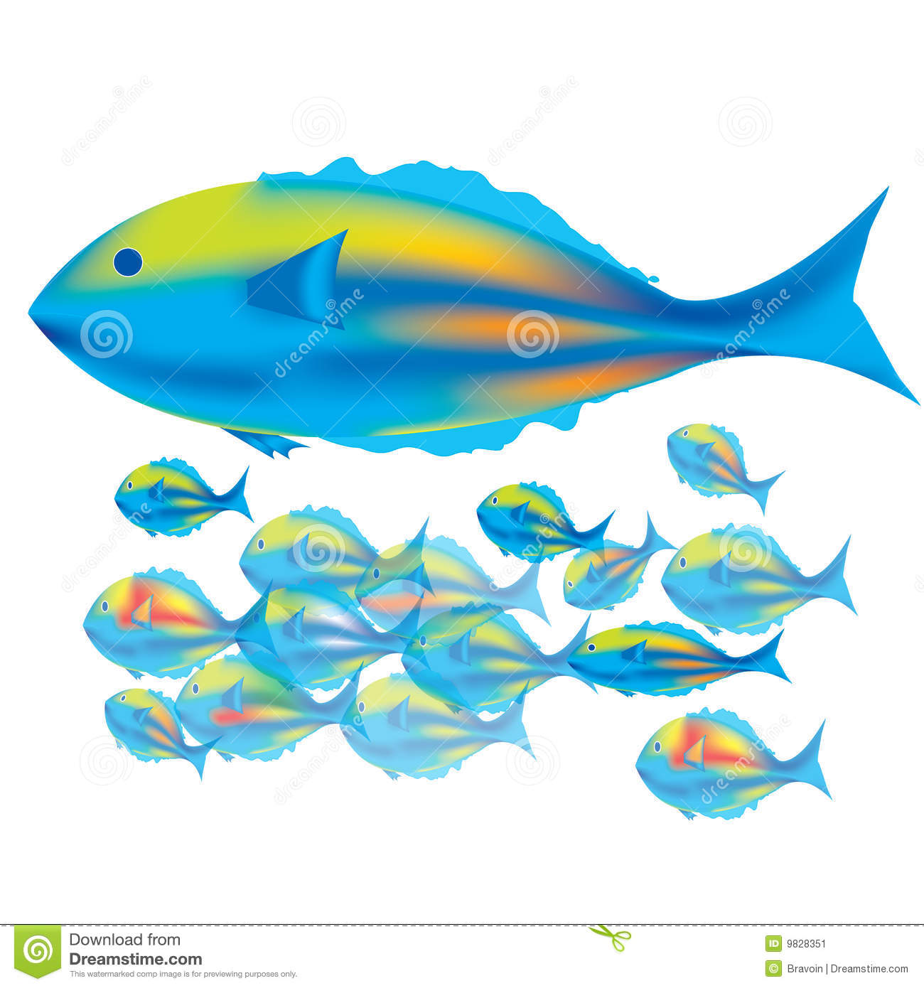 Baby Fish Clipart Mother fish & baby fishes Cute Baby Fish