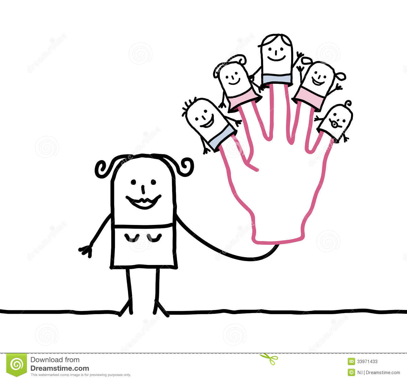 Cartoon Characters 3 Fingers : Mother with five puppets children on fingers stock vector
