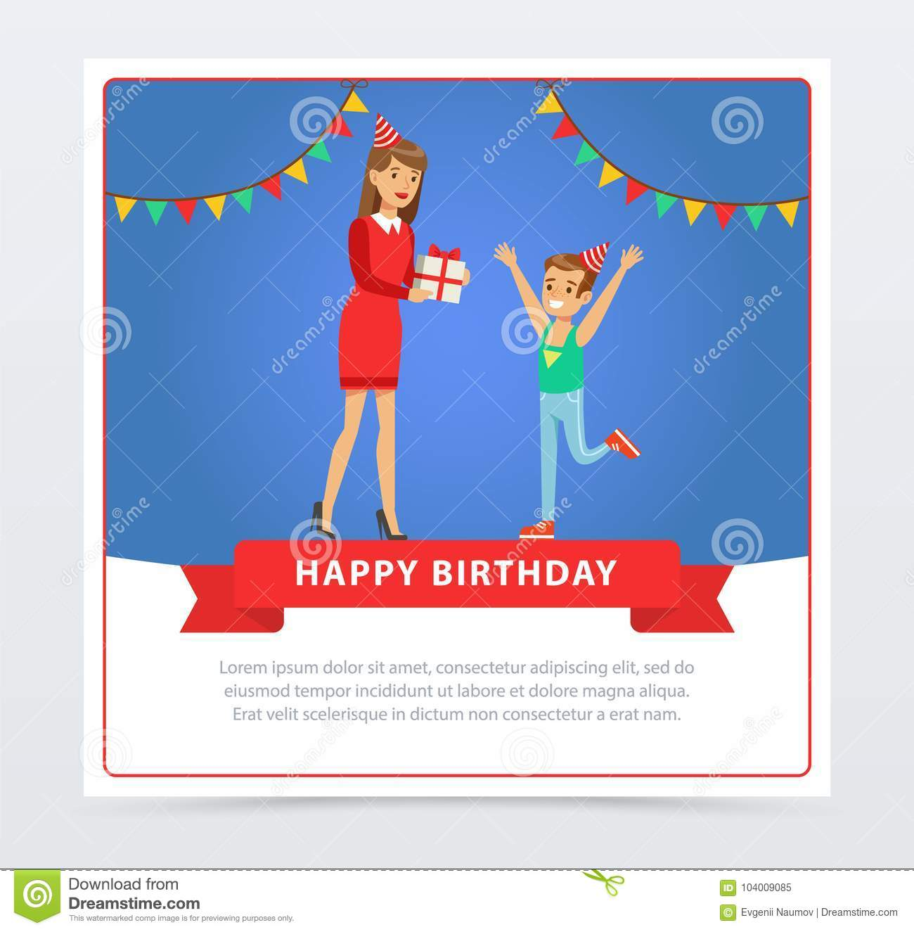 Mother Giving A Gift To Her Son Kids Birthday Party Happy Banner Flat