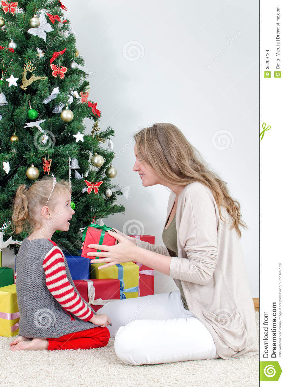 Mother Giving Her Daughter Gift Stock Images Image