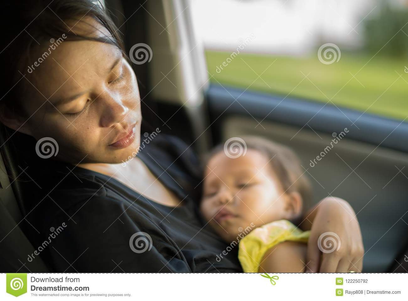 Tired and exhausted mother taking care of her baby. Postpardum depression.