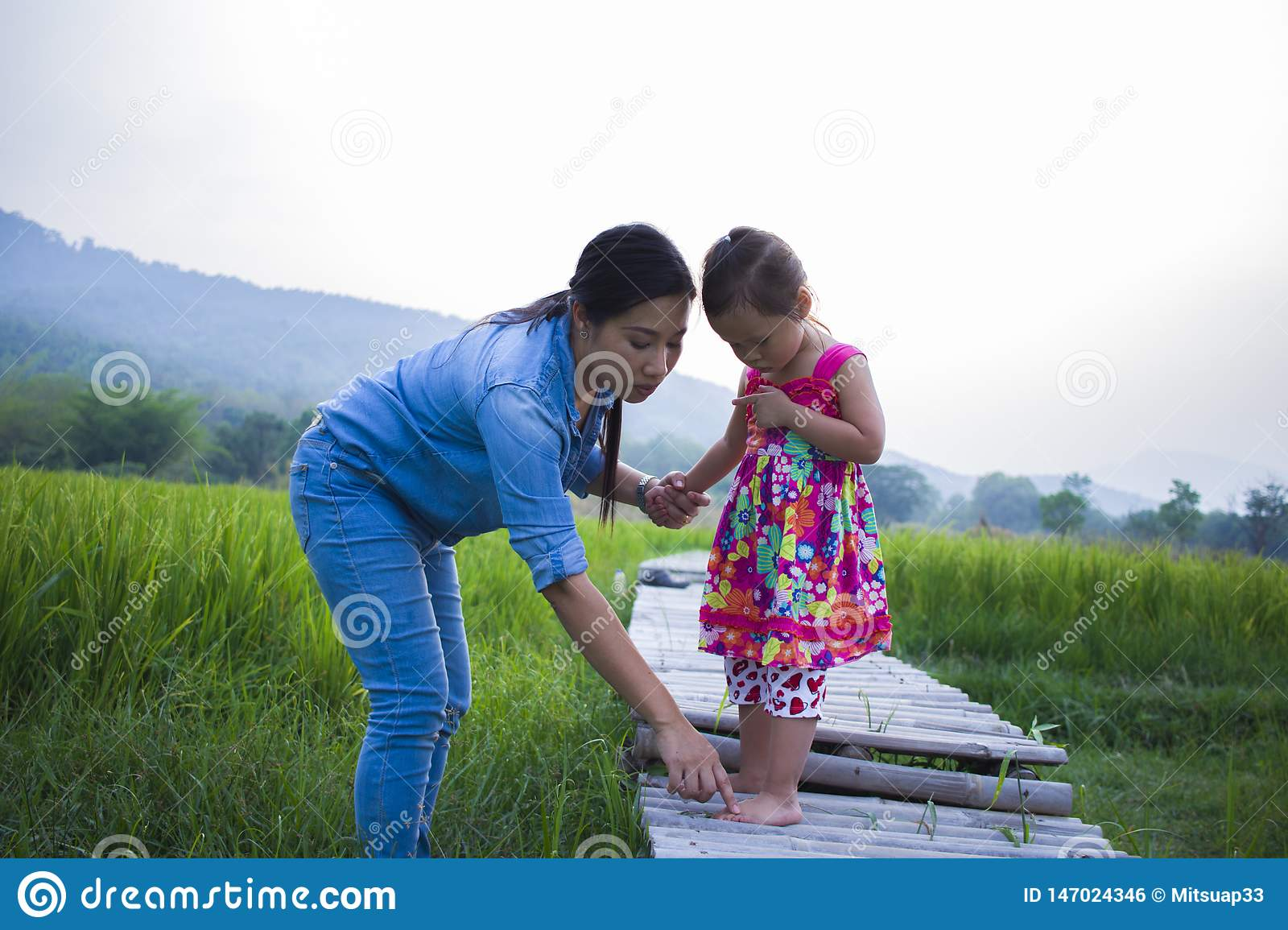 Mother help her child to cross stream, mother lifting daughter in rice field