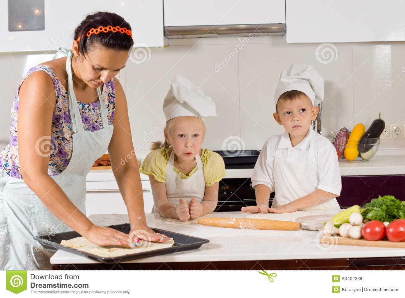 Mother Helping Chef Kids Making Food Stock Photo Image 43402236