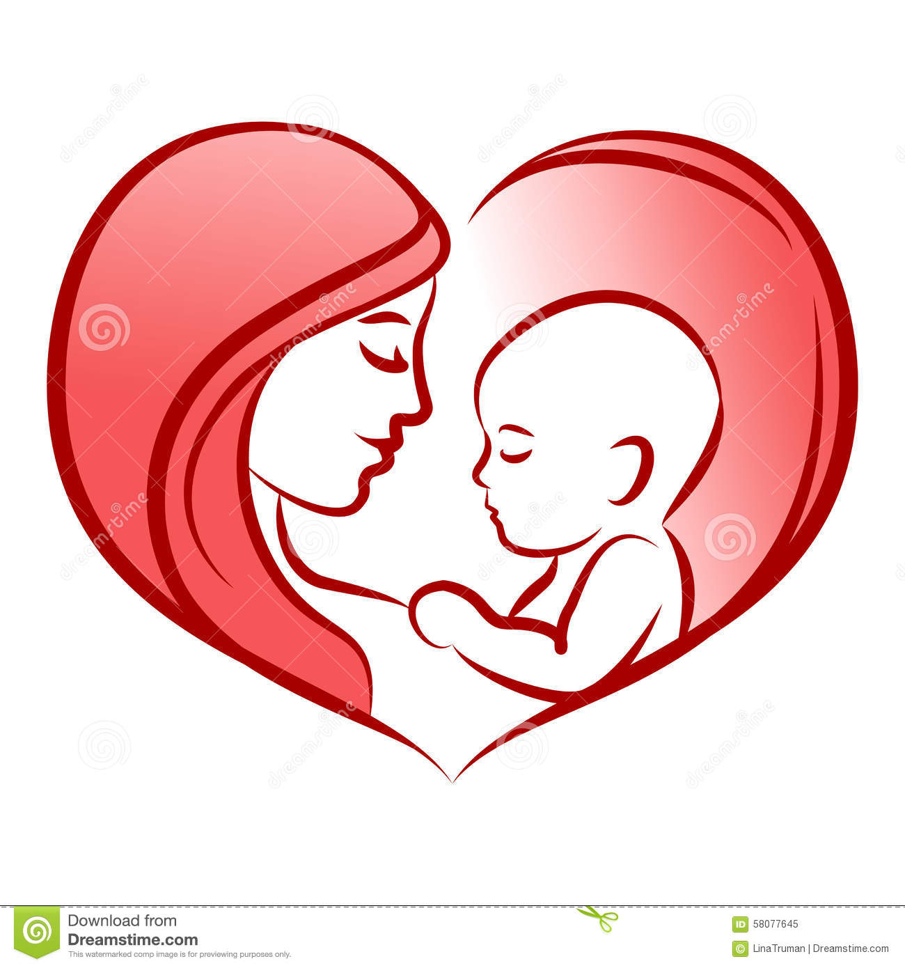 Mother with her baby, heart, outline vector silhouette, mother care icon.