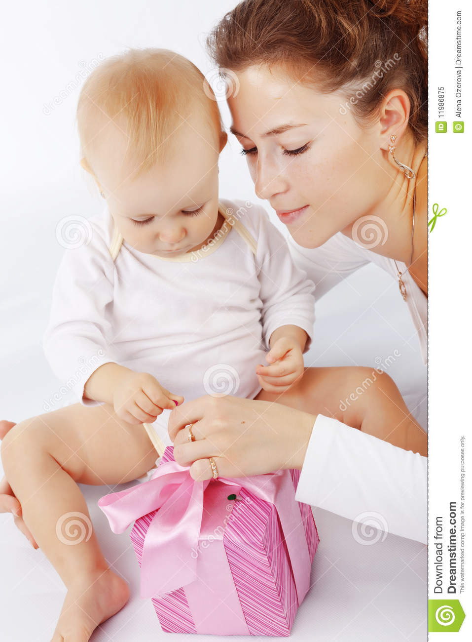 Mother And Baby Gift Box : Mother with her child royalty free stock photo image