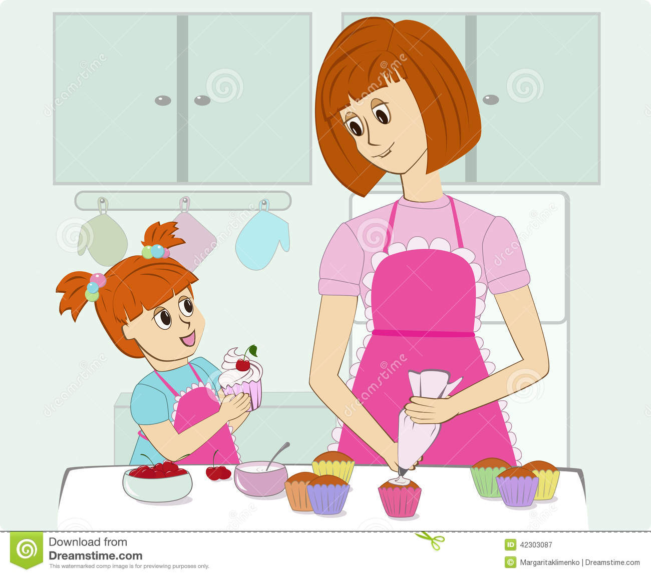 Draw House Plans App Mother And Her Daughter Cooking In The Kitchen Stock