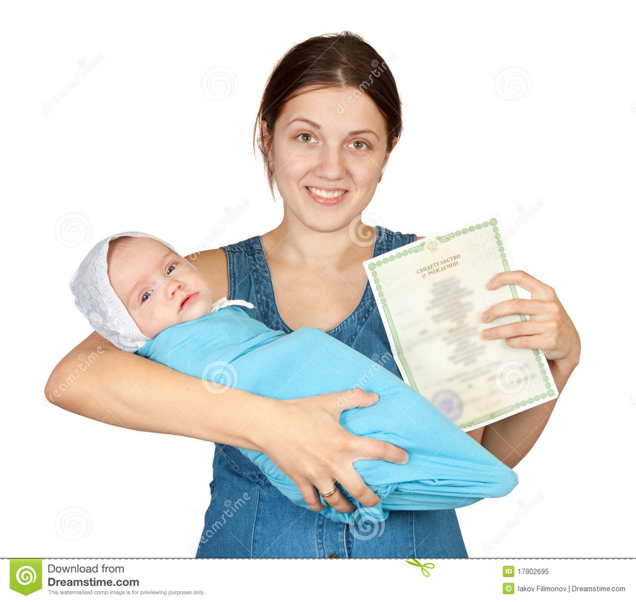 Mother Holding Baby And Certificate Of Birth Stock Image Image Of