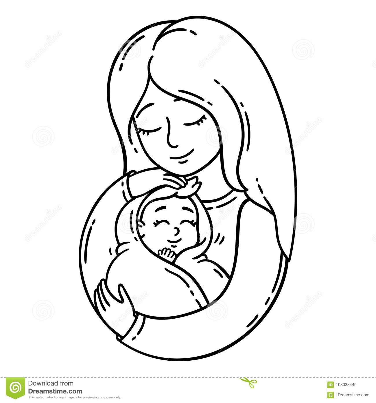 Mother Holding Baby. Isolated Objects On White Background. Vector ...