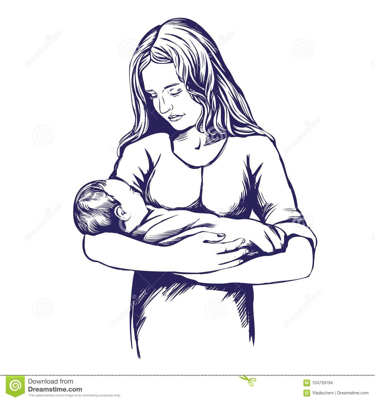 Mother holding a baby mothers day hand drawn vector illustration realistic sketch