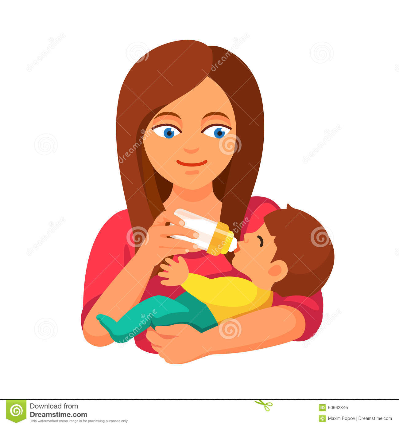 Mother Holding And Feeding Baby With Milk Bottle Stock