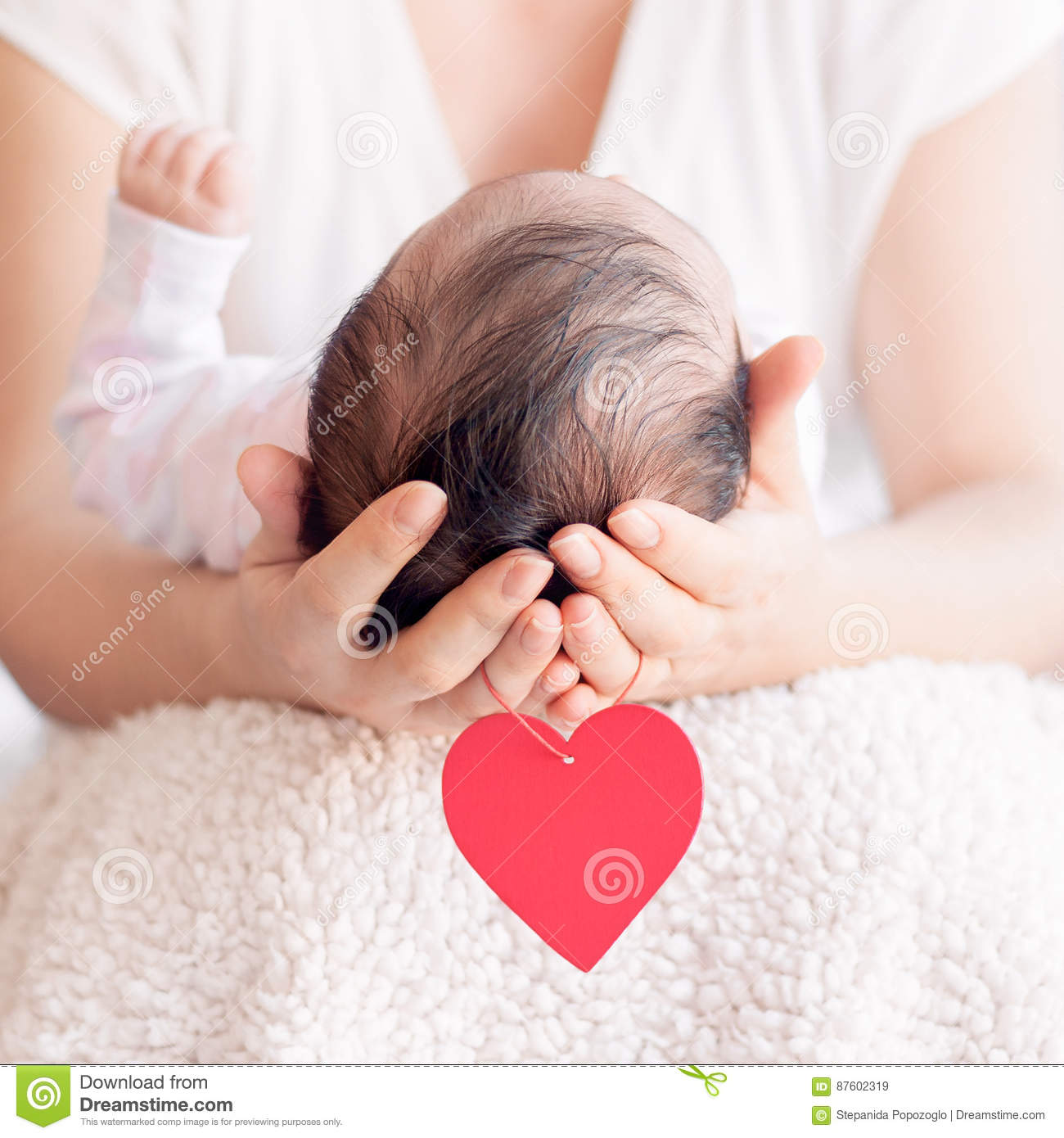 Happy Mother Holding Newborn Baby After Birth Stock ...