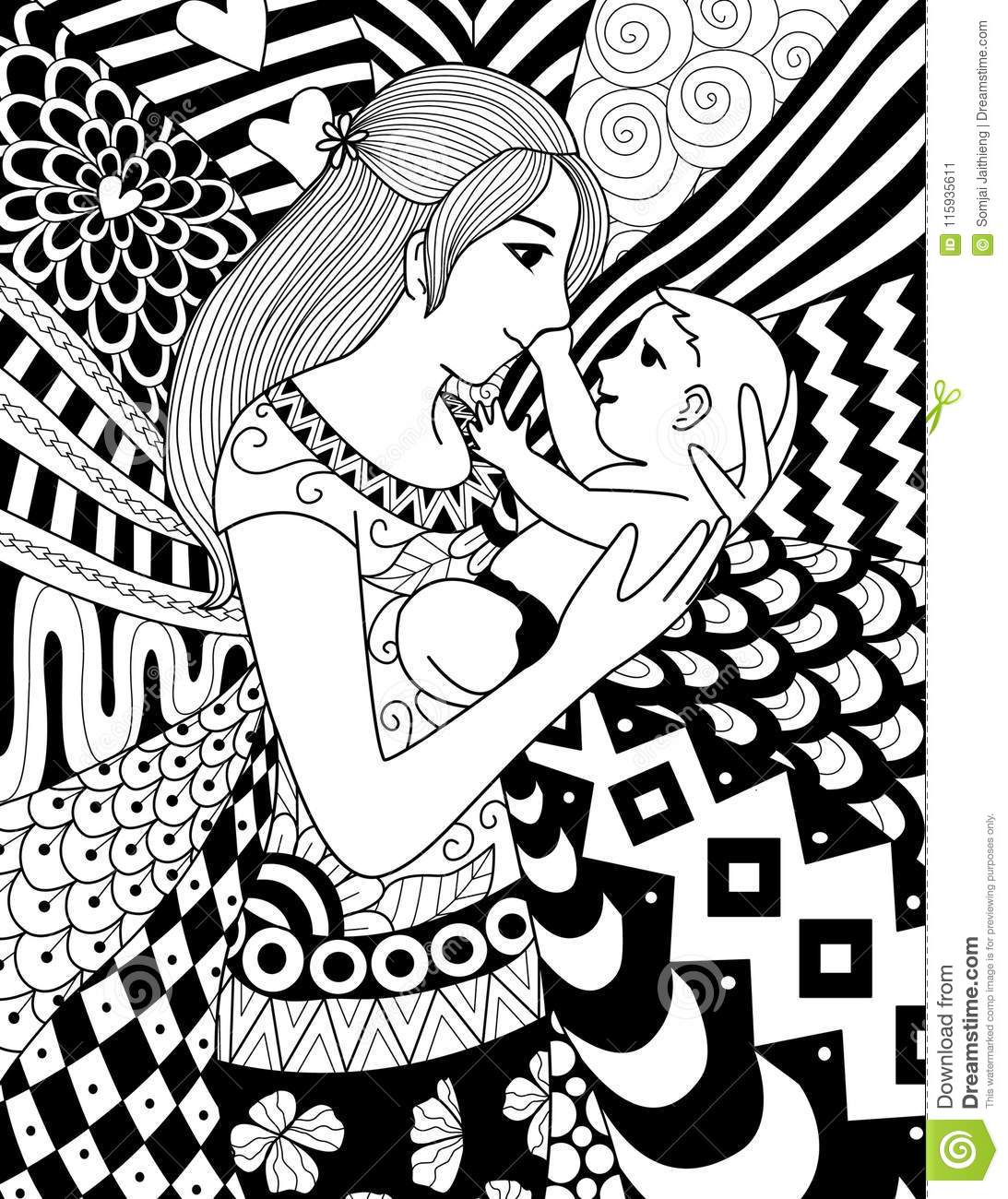 Mother Holding Her Baby, Clean Line Doodle Art Design For Coloring ...