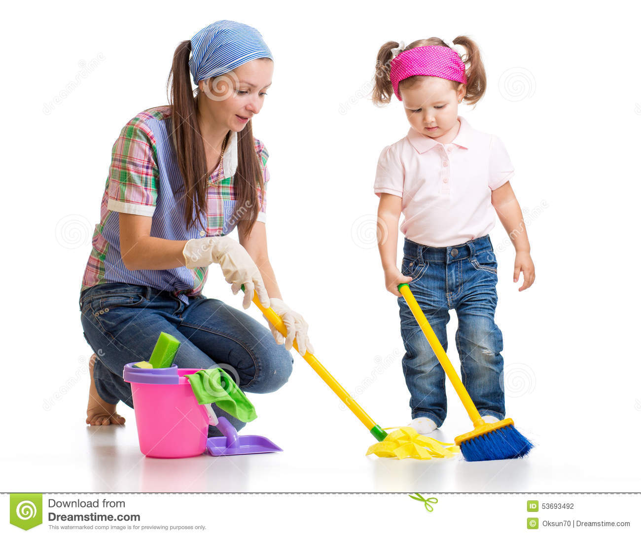 Having Fun While Cleaning Stock Photography