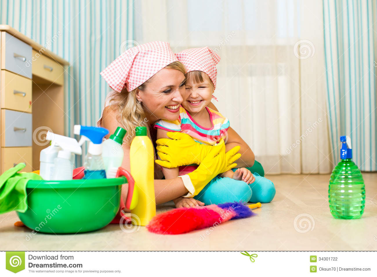 Mother And Kid Ready To Room Cleaning Stock Photo Image