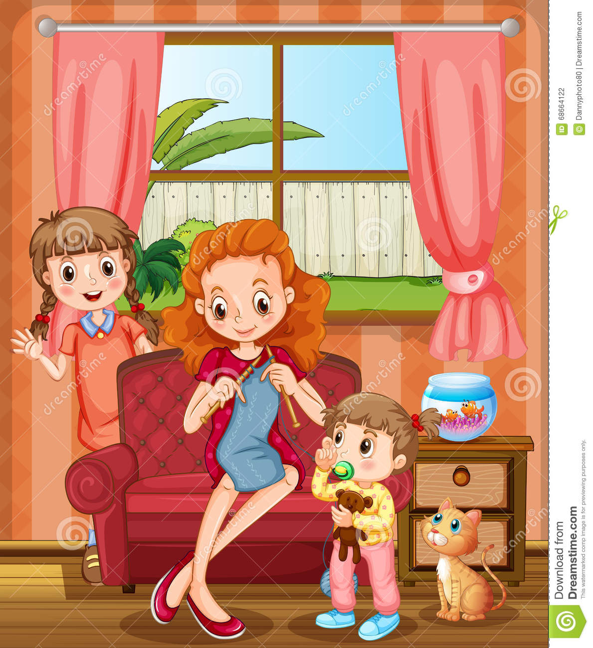 Mother and kids in the living room stock vector for Kids living room