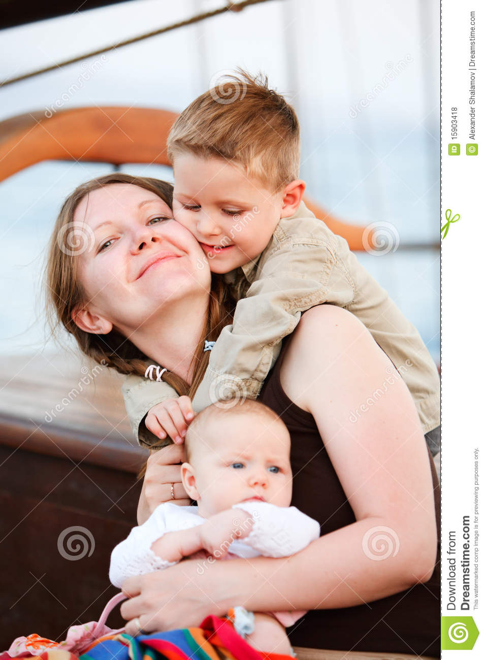 Mother and kids loving moment