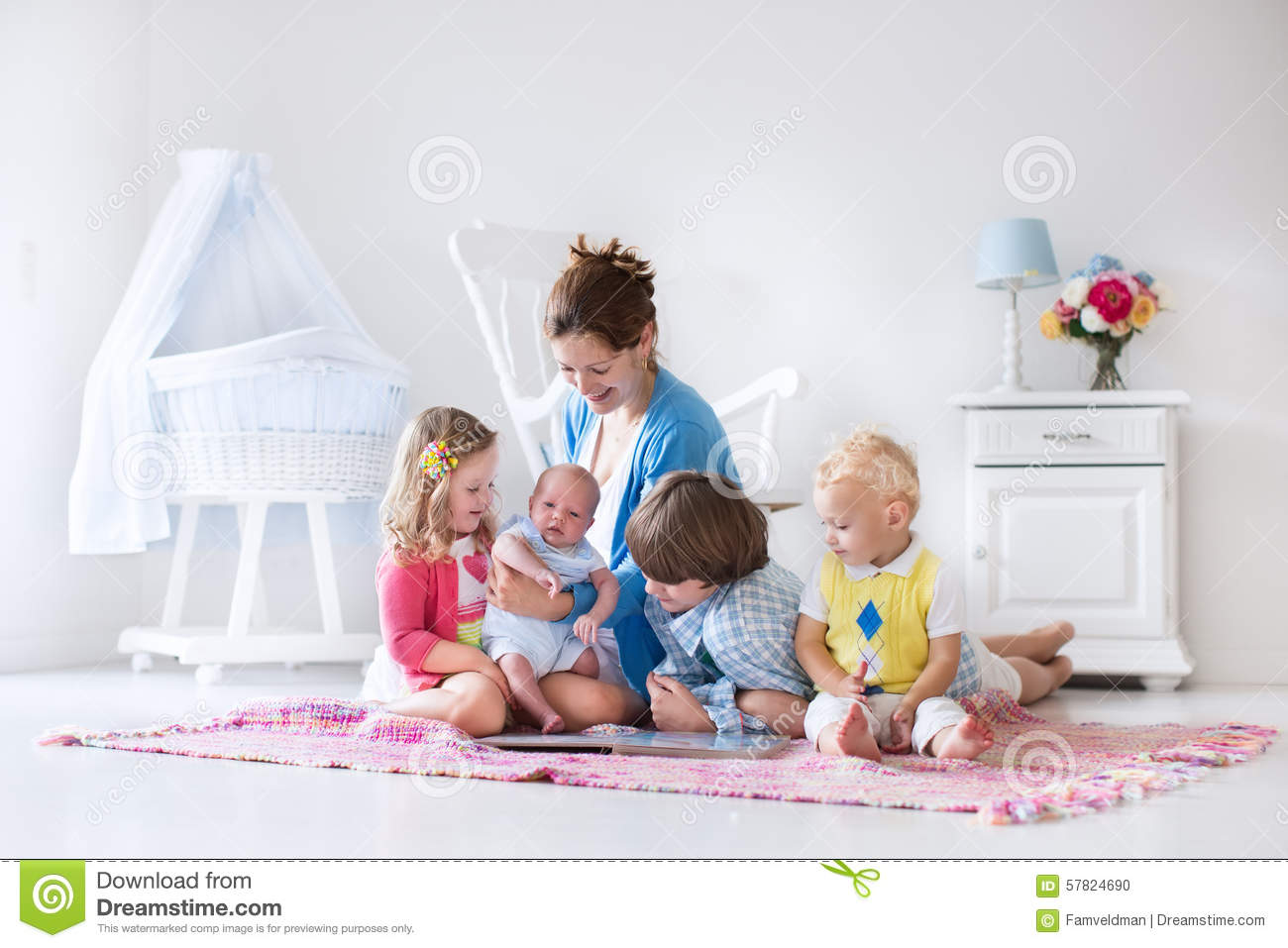 Mother And Kids Playing In Bedroom Stock Photo Image Of