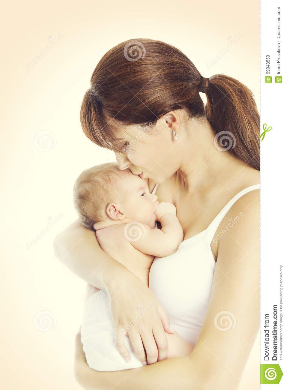 Mother Kiss Newborn Baby, Mom holding and Kissing New Born Kid