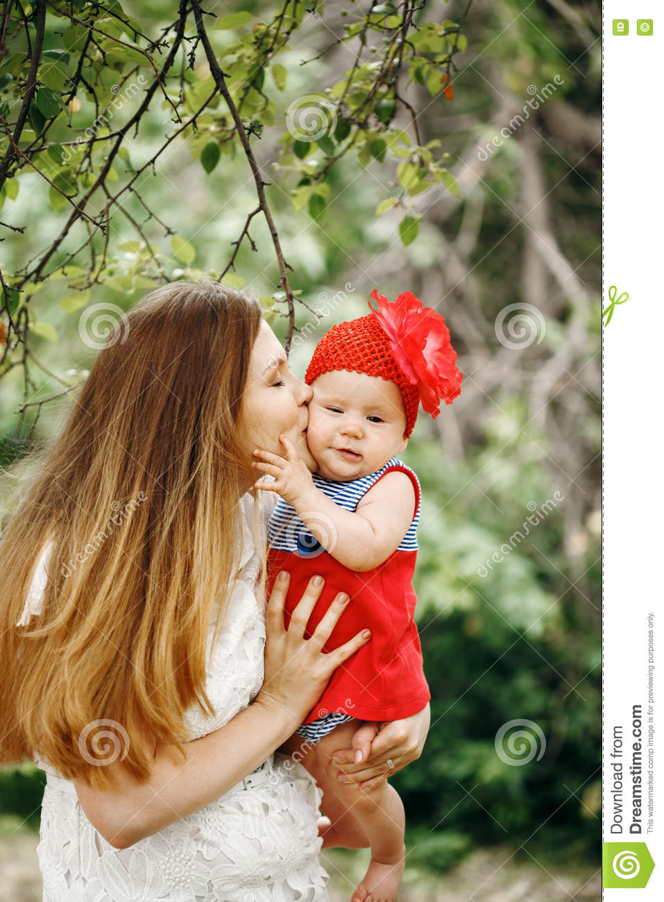 Mother Kissing Her Cute Baby Stock Image Image Of Family Close