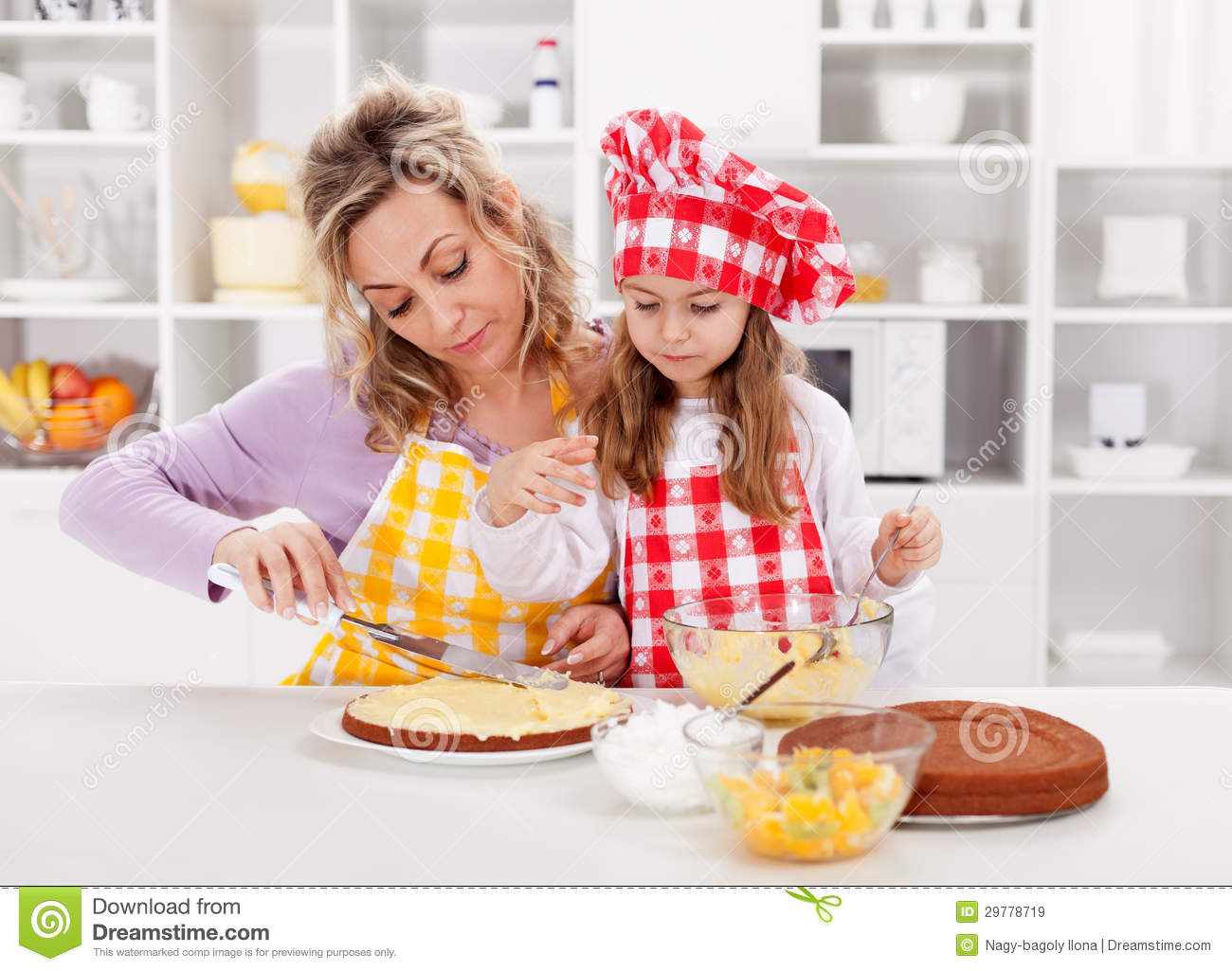 Girls Making Cake