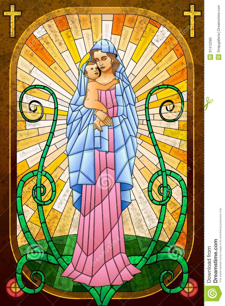 mother mary with jesus christ stock vector image 31412580