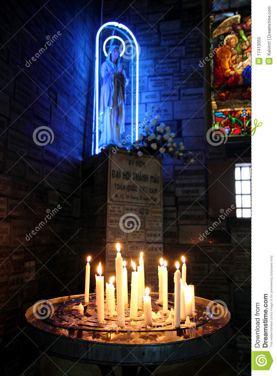 Mother Mary Statue and Candles