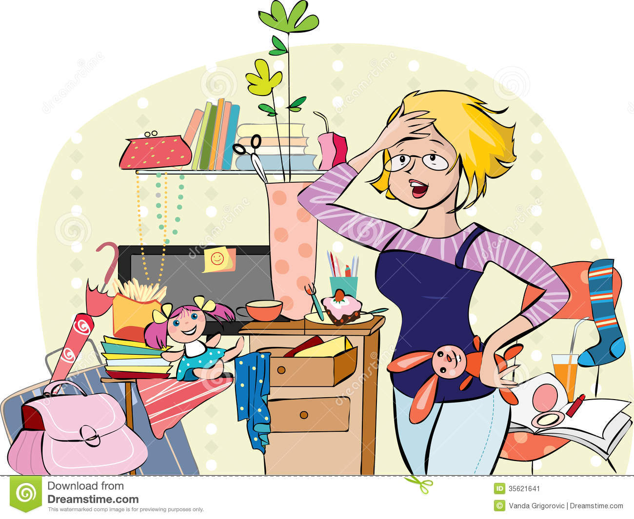 Mother in a messy room stock vector illustration of brush for Chambre en desordre