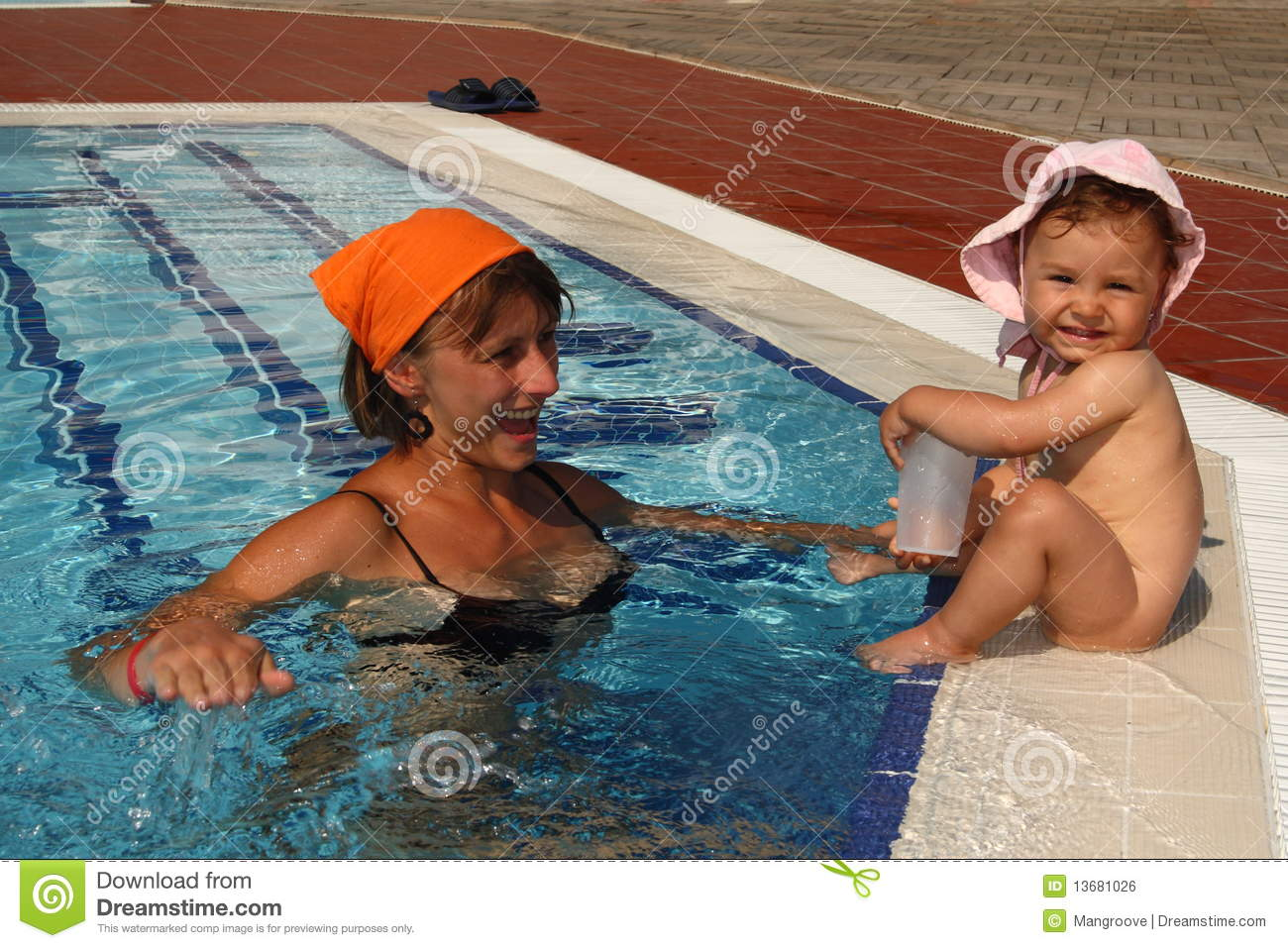 Mother Mom With Baby In The Pool Stock Photo Image Of