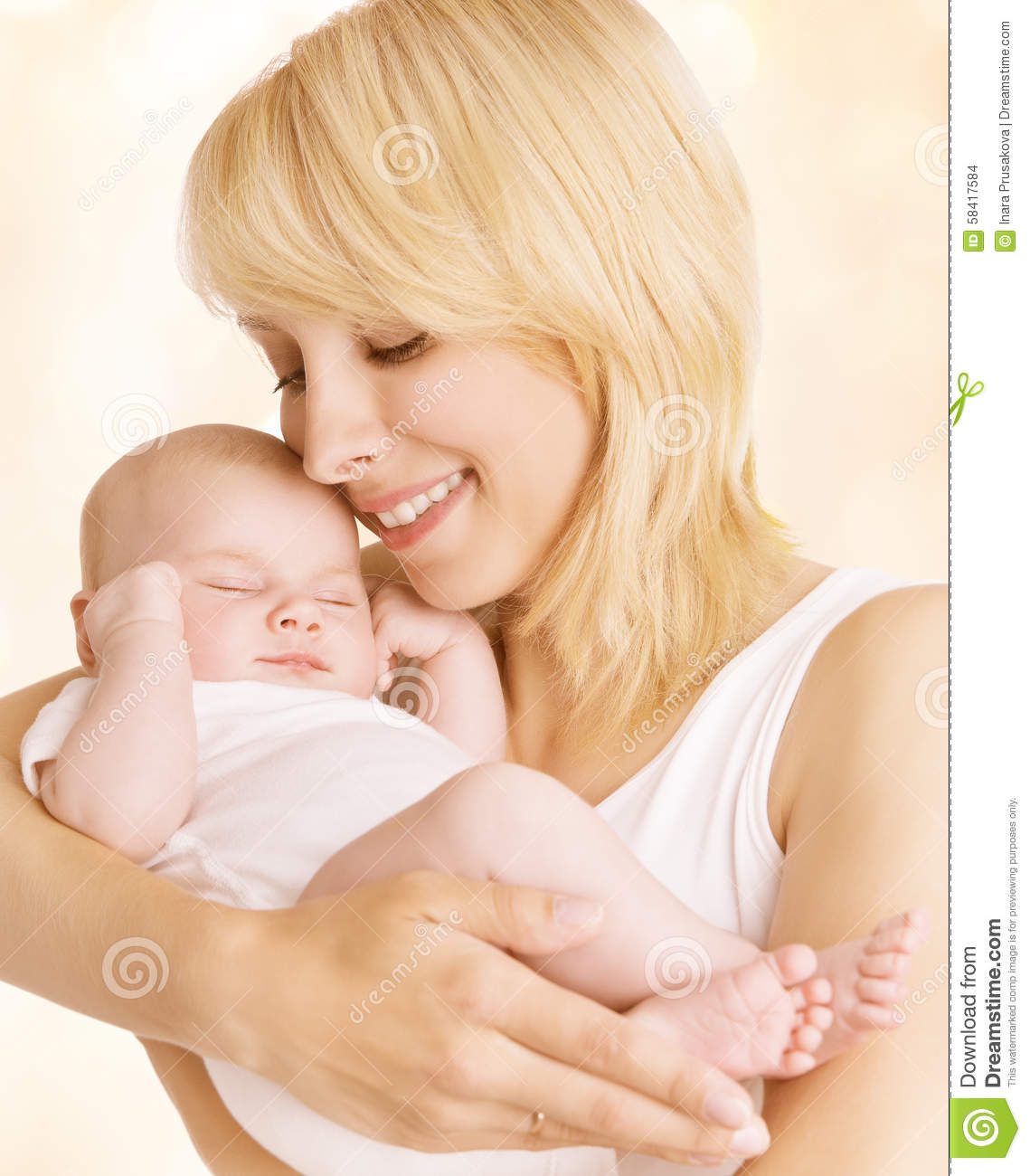 Mother and Newborn Baby Family Portrait, Woman Embrace New Born