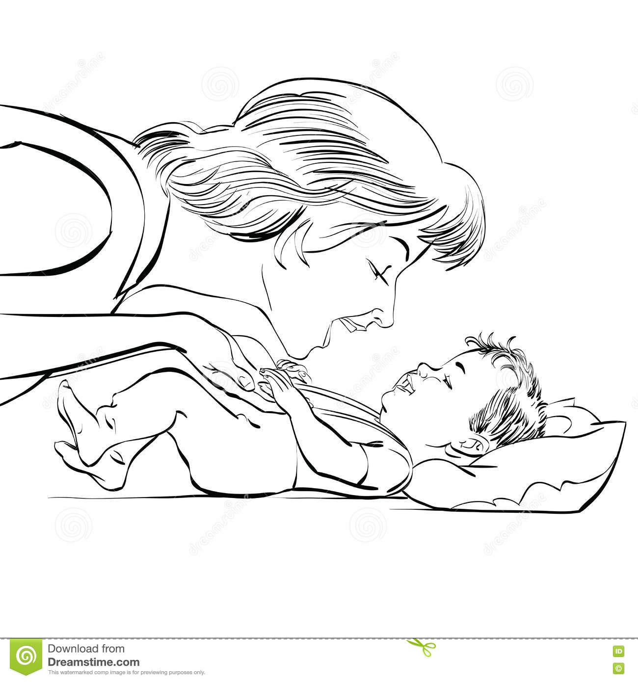Mother and newborn baby love black and white sketch vector illustration childhood and motherhood mothers day and international womens day