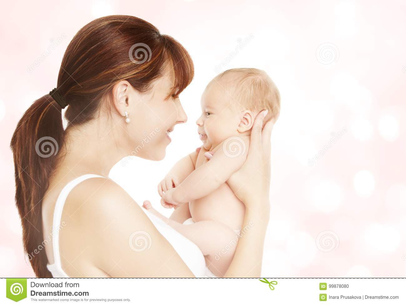 Download Mother And Newborn Baby, Mom Looking To New Born Child Stock Photo - Image of family, hold: 99878080