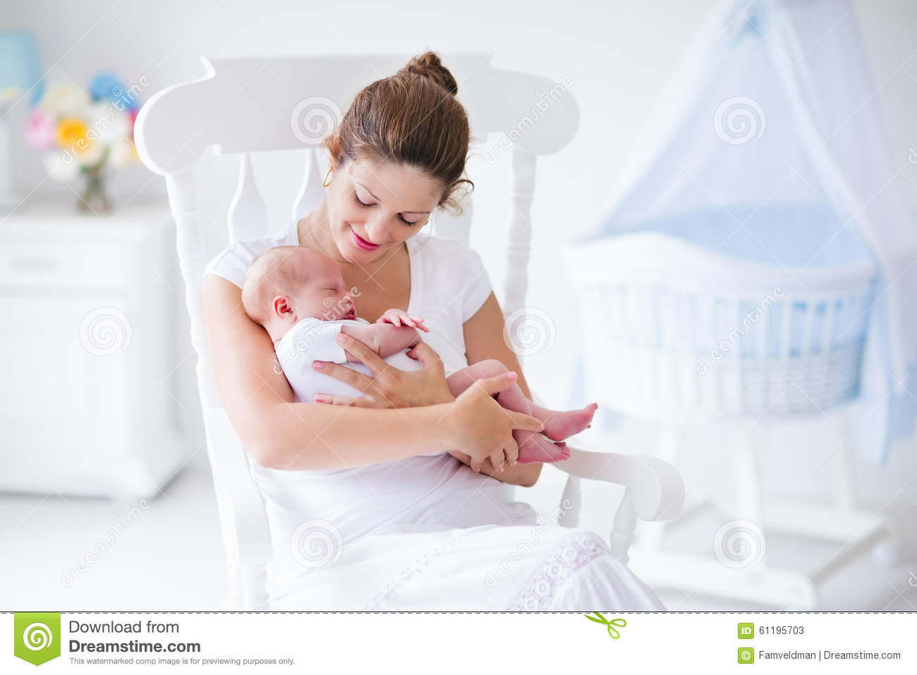 Mother And Newborn Baby In White Nursery Stock Photo ...