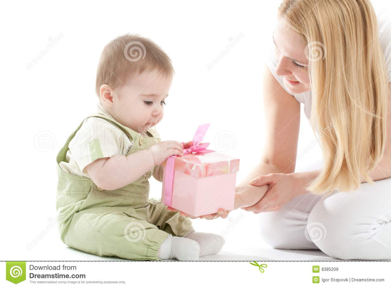 Mother And Baby Gift Box : Mother present to her baby boy gift royalty free stock