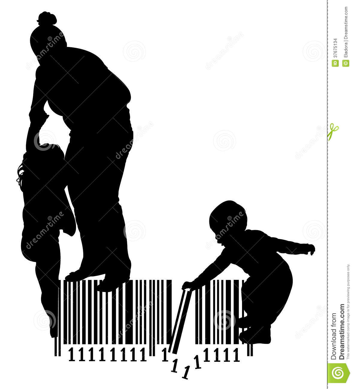 Mother pulling her daughter and baby girl playing on bar code