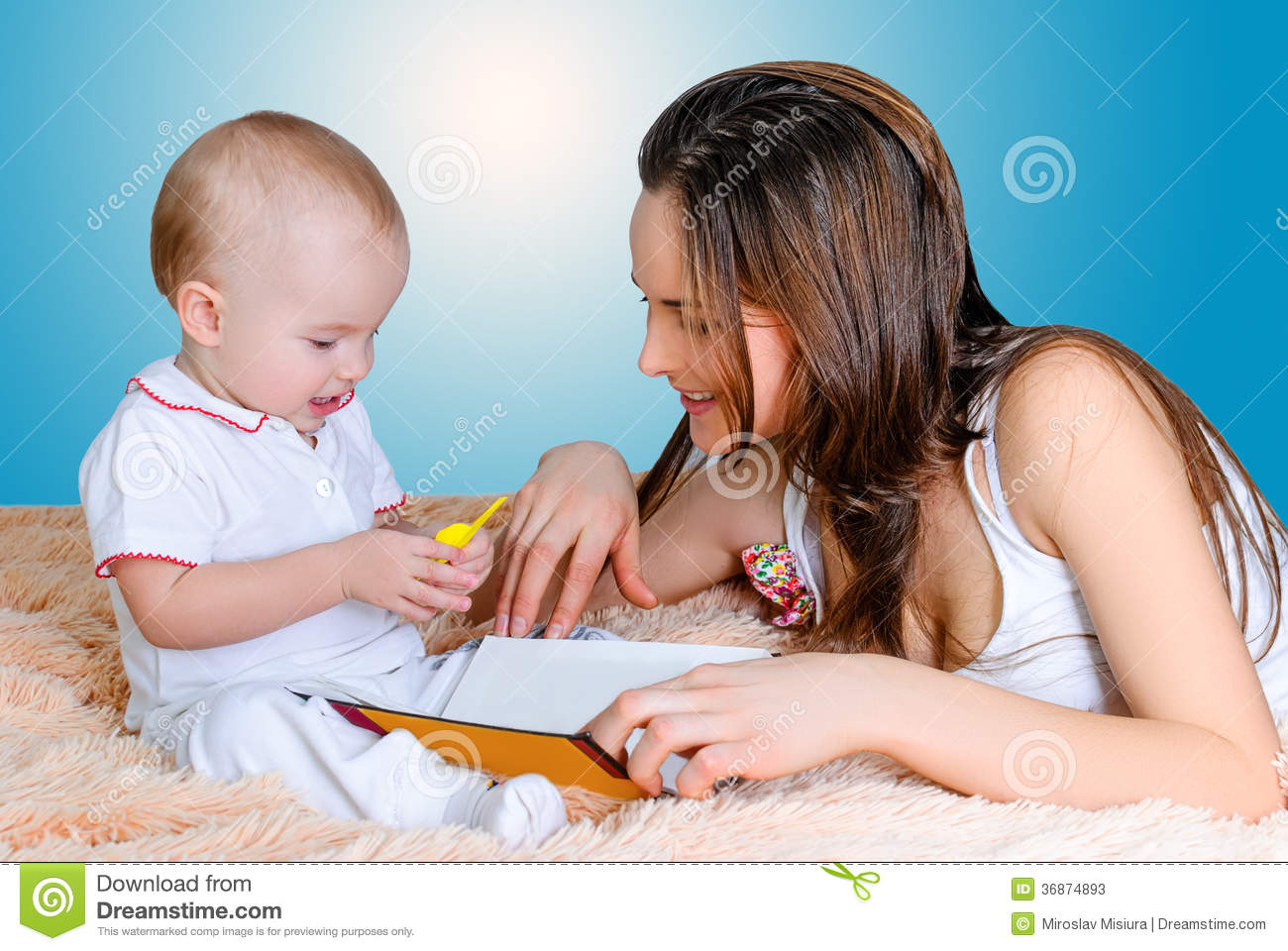 Mother Reading Bedtime Stories Stock Photos