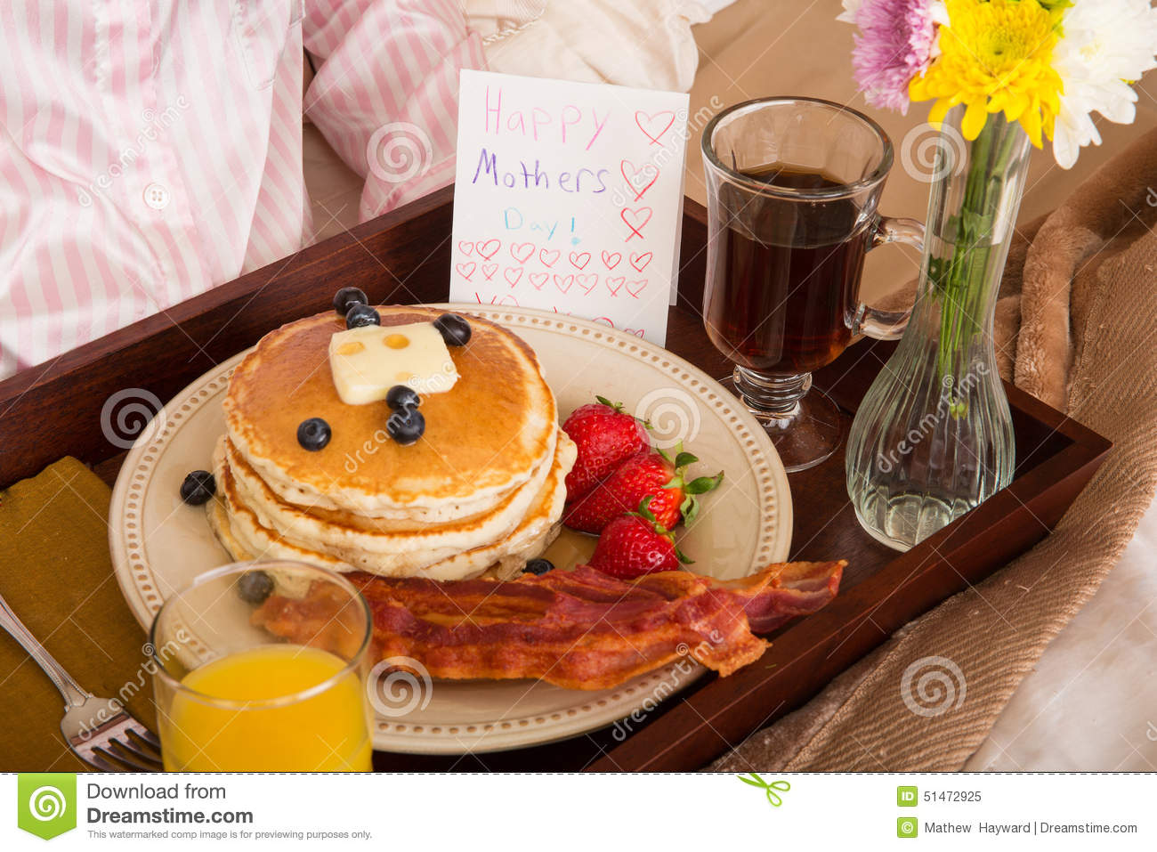 Mother S Day Breakfast In Bed Stock Image Image Of Card Juice 51472925