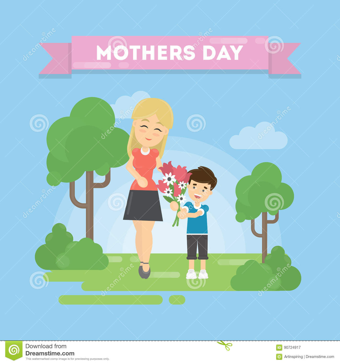 Mothers Day Greeting Card Mom With Son