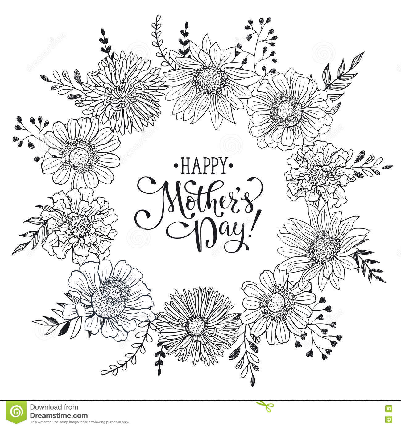 Mothers day card stock vector illustration of monochrome 70598524 mother s day card maxwellsz