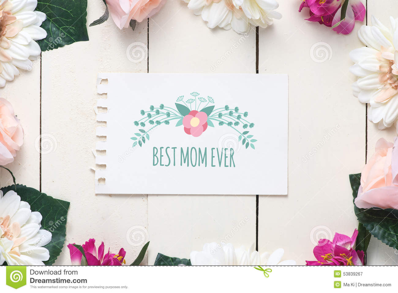 Mothers Day Card With Message Best Mom Ever Stock Image Image Of