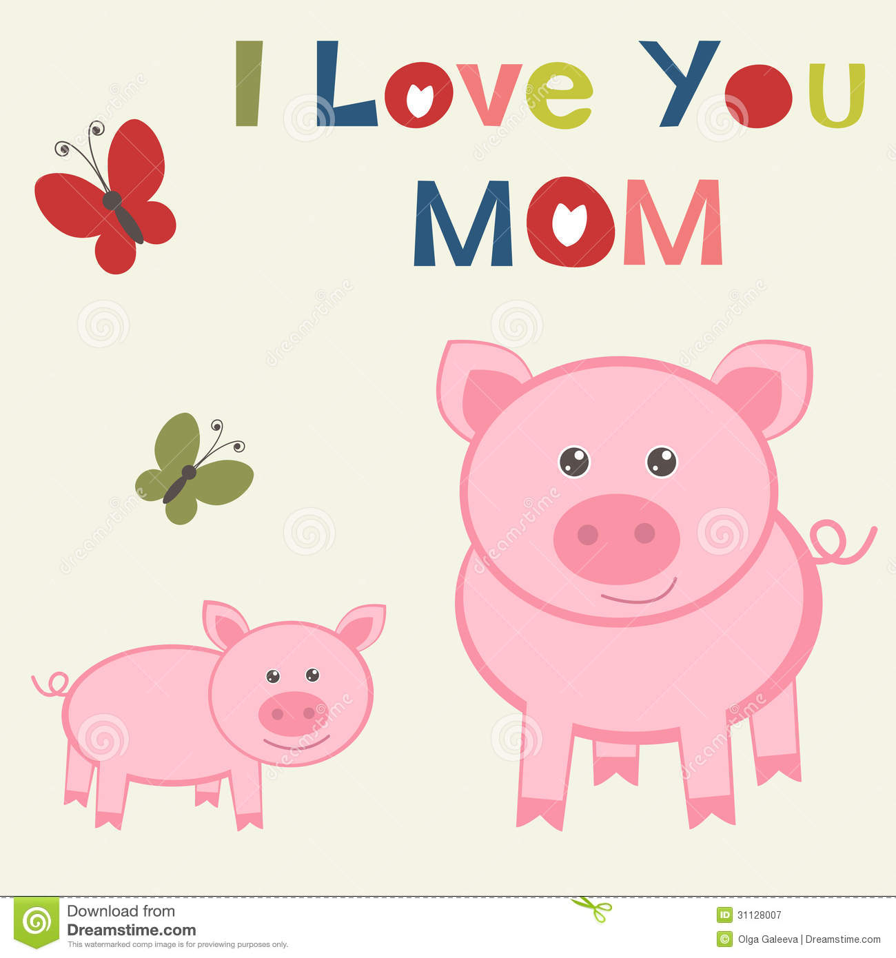 Mothers Day Card With Pig And Piglet Royalty Free Stock