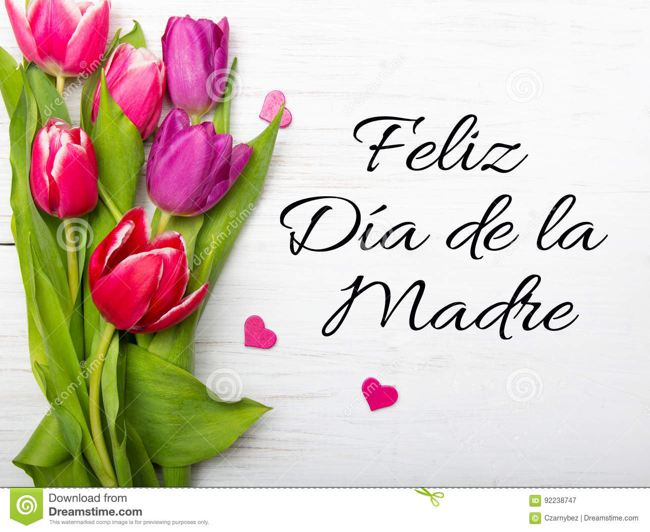 Mothers Day Card With Spanish Words Happy Mothers Day Stock