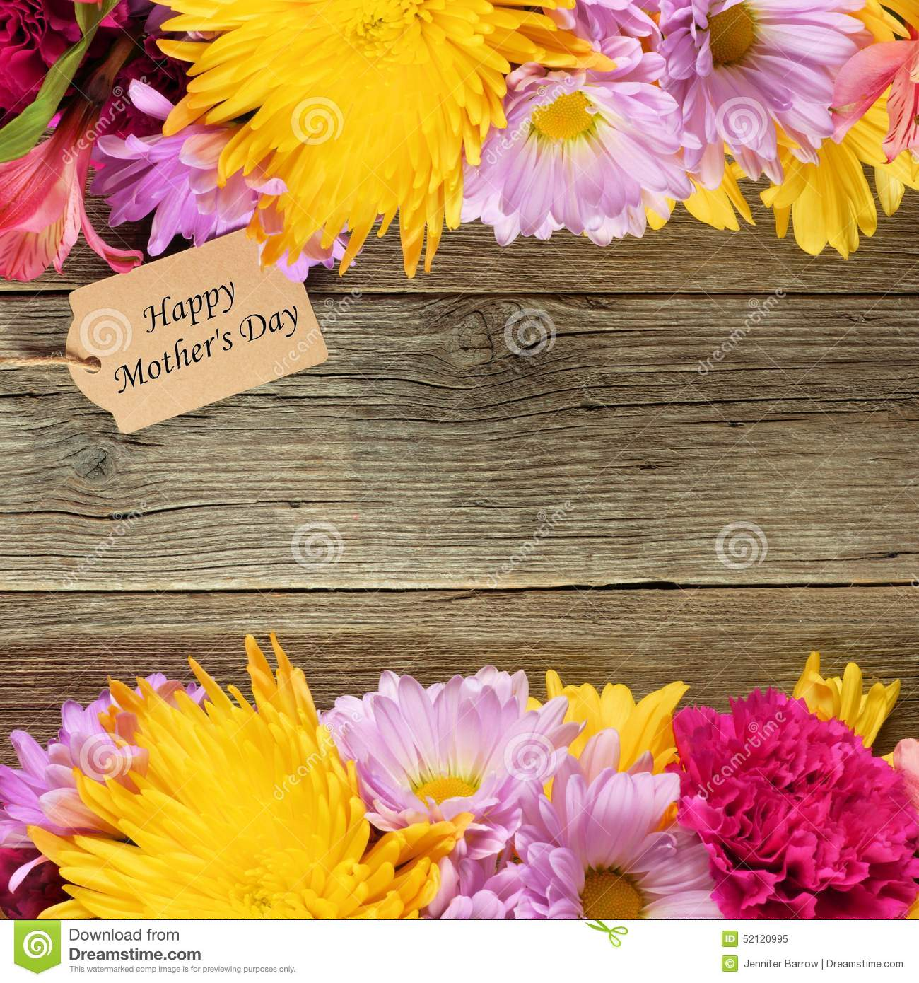 happy mother u0027s day tag in flower bouquet stock photo image 52076218