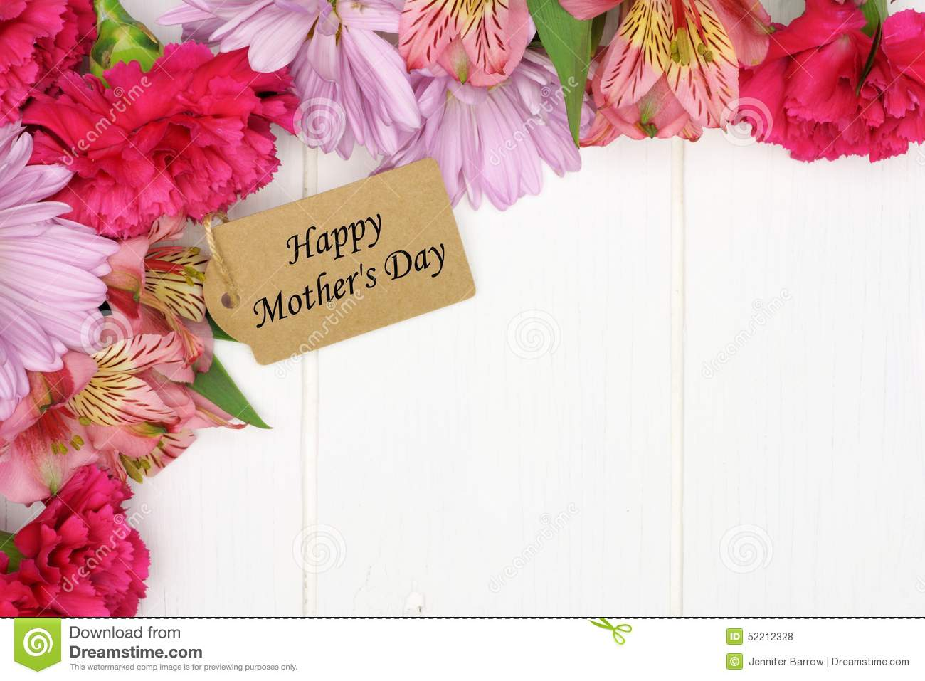 Mothers day gift tag with flower corner border on white wood mother s day gift tag with flower corner border on white wood sciox Choice Image